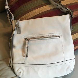 Authentic winter white leather coach shoulder bag